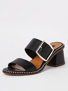 487a0b96c5f River Island River Island Wide Fit Leather Stud Block Heel Sandals - Black
