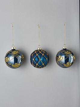 blue-glitter-glass-christmas-tree-baubles-set-of-3