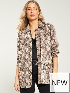 c20a7dae62dc6f River Island River Island Snake Print Shacket - Light Brown