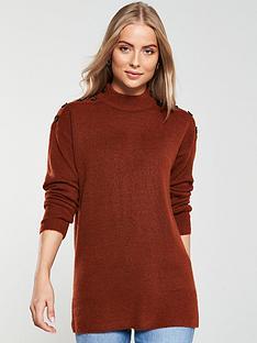 v-by-very-button-shoulder-longline-jumper-burnt-orangeberry