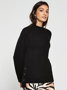 v-by-very-button-side-cuff-and-hem-jumper-black