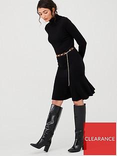 v-by-very-roll-neck-godet-hem-fit-and-flare-knitted-dress-blacknbsp