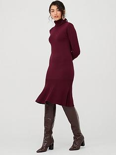 v-by-very-roll-neck-godet-hem-fit-and-flare-knitted-dress-plumnbsp