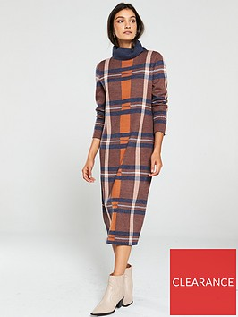 v-by-very-check-roll-neck-midi-dress-multi