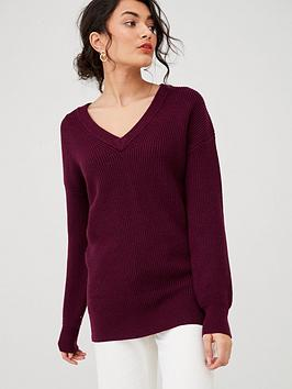 v-by-very-v-neck-fisherman-rib-slouch-jumper-berry-red