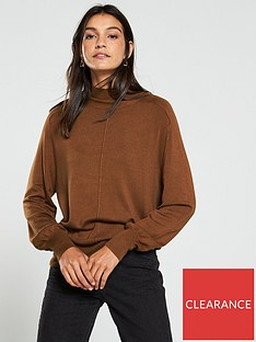 v-by-very-turtleneck-seam-detail-blouson-sleeve-jumper-tan