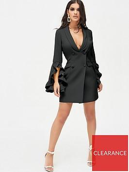 lavish-alice-ruffle-bell-sleeve-mini-blazer-dress-black