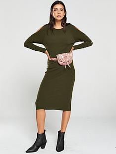 v-by-very-popper-sleeve-knitted-midi-dress-dark-olive