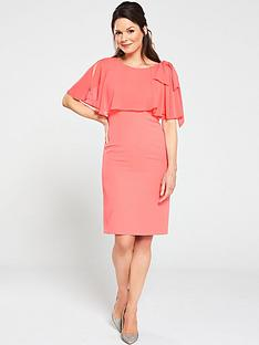 gina-bacconi-krissy-crepe-and-chiffon-dress-coral