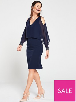 gina-bacconi-karen-chiffon-and-crepe-cold-shoulder-dress-navy