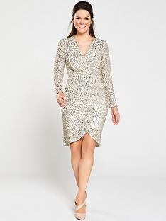 gina-bacconi-nidia-sequin-wrap-dress-silver