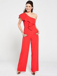gina-bacconi-ivana-one-shoulder-crepe-jumpsuit-red