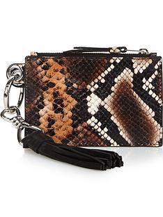allsaints-dive-sliver-snake-print-key-fob-purse-brown