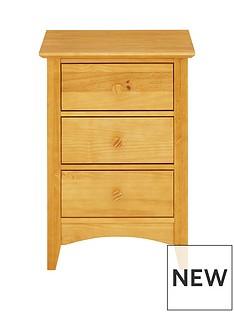 Julian Bowen Kendal Solid Pine 3 Drawer Bedside Chest