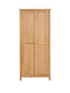 Julian Bowen Salerno 2 Door Solid Oak/Oak Veneer Wardrobe