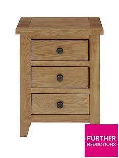 Julian Bowen Marlborough Ready Assembled 3 Drawer Solid Oak/Oak Veneer Bedside Cabinet