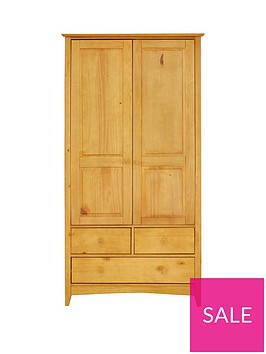 julian-bowen-kendal-solid-pine-2-door-3-drawer-combination-wardrobe