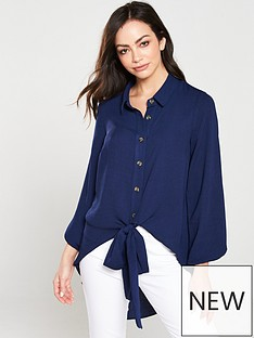 v-by-very-washed-linen-button-through-knot-front-blouse--nbspblue