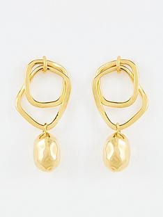 whistles-double-hoop-hammered-bead-earrings-gold