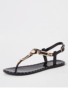 eaab6110a216 River Island Stud Jelly Sandals - Black