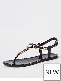 97b0f43dd3b River Island Stud Jelly Sandals - Black