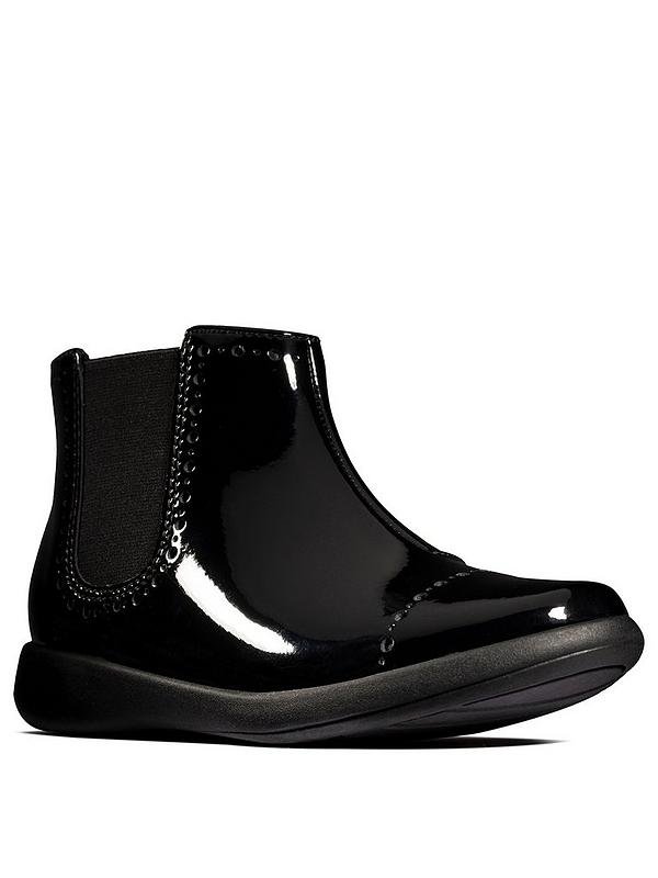 Girls Etch Form Patent Ankle Boot