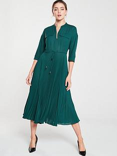 whistles-wendy-pleat-shirt-dress-green