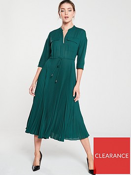 whistles-wendy-pleat-shirt-dress-green