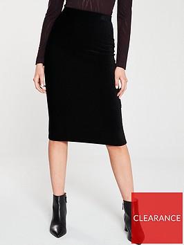 whistles-velvet-jersey-tube-skirt-black