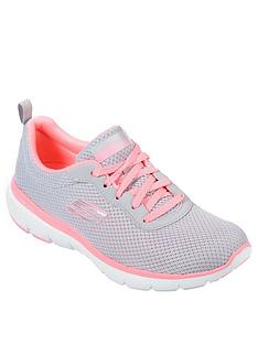 skechers-flex-appeal-30-first-insight-trainersnbsp--light-greyhot-pink