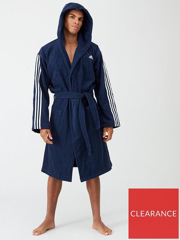 Adidas 3 Stripe Towelling Robe Navy Very Co Uk