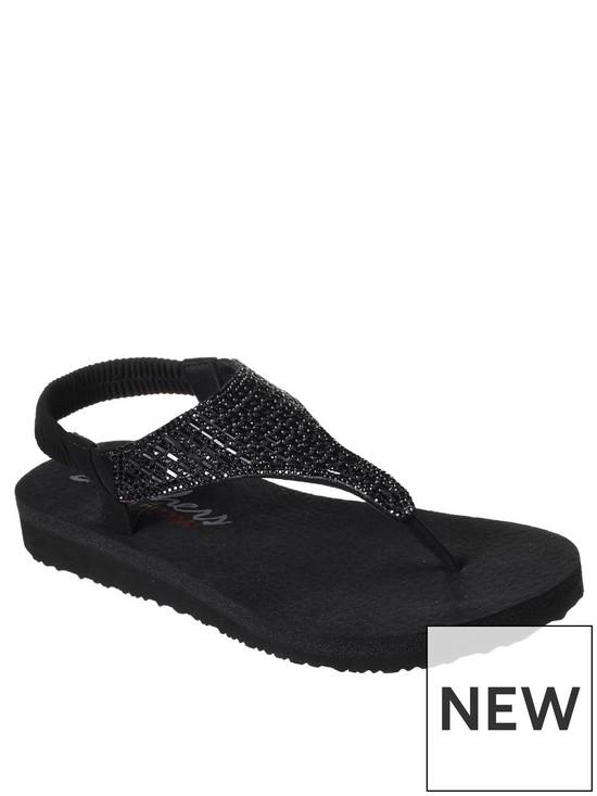 4256a28453d8 Skechers Meditation Rock Crown Flip Flops - Black