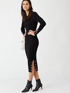 v-by-very-popper-hem-rib-knit-midi-dress-black