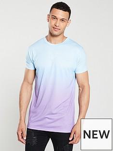 sik-silk-reverse-collarnbspfade-t-shirt-bluelilac