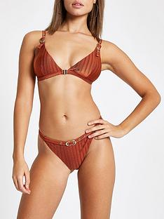 river-island-river-island-buckle-trim-ribbed-bikini-top-brown