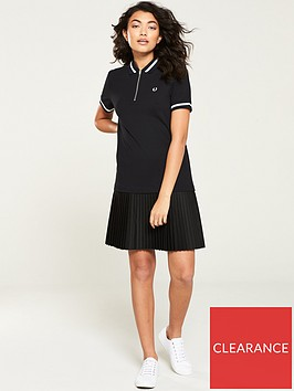 fred-perry-pleat-detail-pique-dress-black