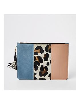 river-island-river-island-leather-animal-panel-pouch-blue