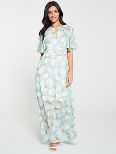 330be41de022 V by Very Light Floral Print Kimono Maxi Dress - Blue Floral