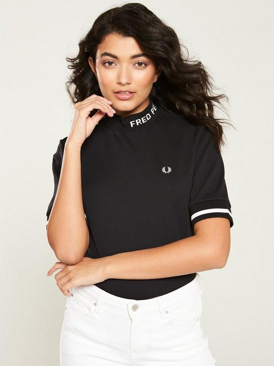 13569f2102fd Fred Perry High Neck T-Shirt - Black | very.co.uk