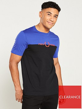 fred-perry-graphicnbsppanelled-t-shirt-rich-blueblack