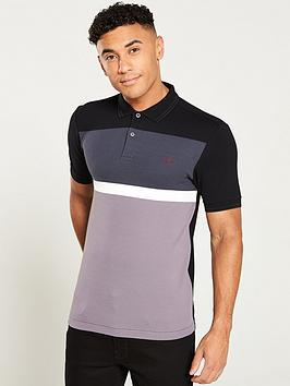 fred-perry-panelled-pique-polo-shirt-blackgreywhite