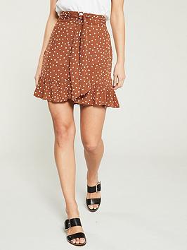 river-island-river-island-brown-spot-button-down-skirt--brown