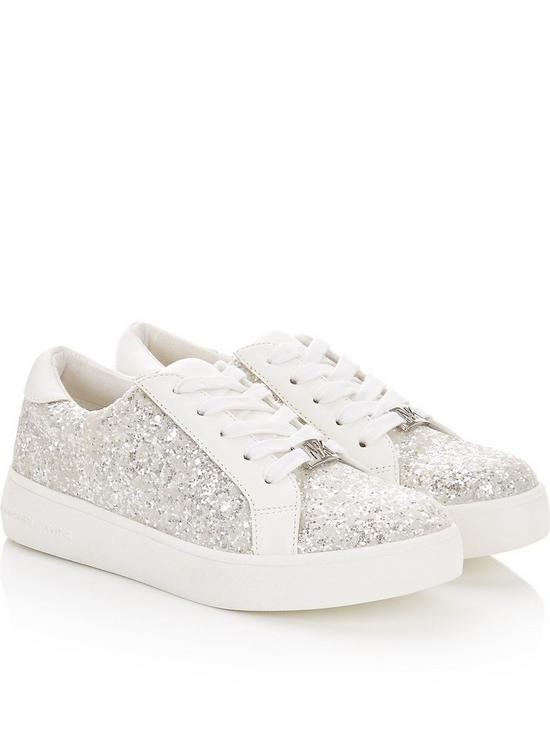 2e1582a9c0f3 MICHAEL KORS Girls Zia Ivy Glitter Lace Up Trainers - White | very.co.uk