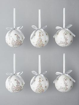 decoupage-pastelnbspgrey-christmas-tree-baubles-with-decorative-box-set-of-14