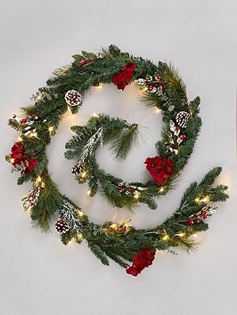 pre-lit-hydrangea-christmas-garland-in-red-ndash-270-cm