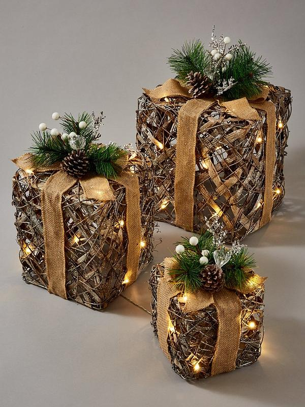 Lit And Frosted Rattan Gift Box Christmas Decorations Set Of 3 Very Co Uk