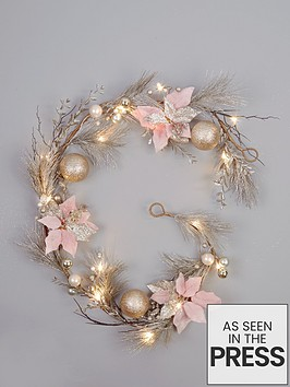 midnight-rose-pre-lit-christmas-garland-ndash-180-cm
