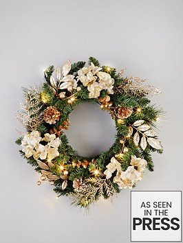 pre-lit-hydrangea-christmas-wreath-in-gold