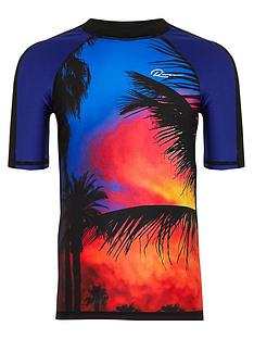 river-island-boys-palm-print-swim-top-black