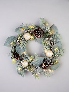 pre-lit-frosted-wreath-with-cones-and-baubles-ndash-60-cm
